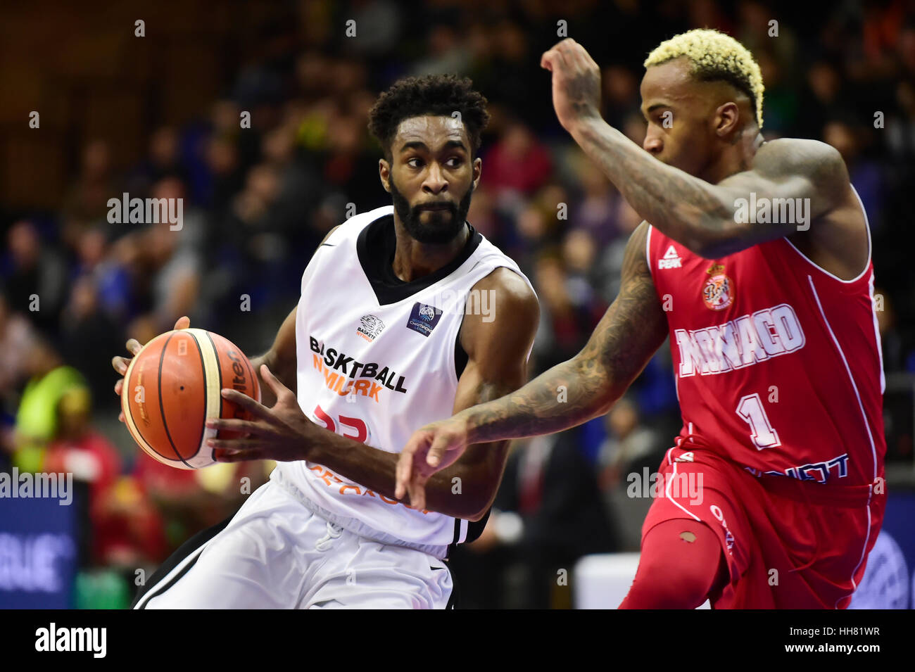 Nymburk, Czech Republic. 17th Jan, 2017. From left Howard Sant-Roos of Nymburk and Dee Bost of Monaco in action - Stock Image