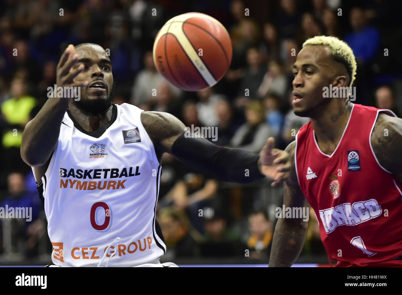Nymburk, Czech Republic. 17th Jan, 2017. From left BRYON ALLEN of Nymburk and DEE BOST of Monaco in action during - Stock Image