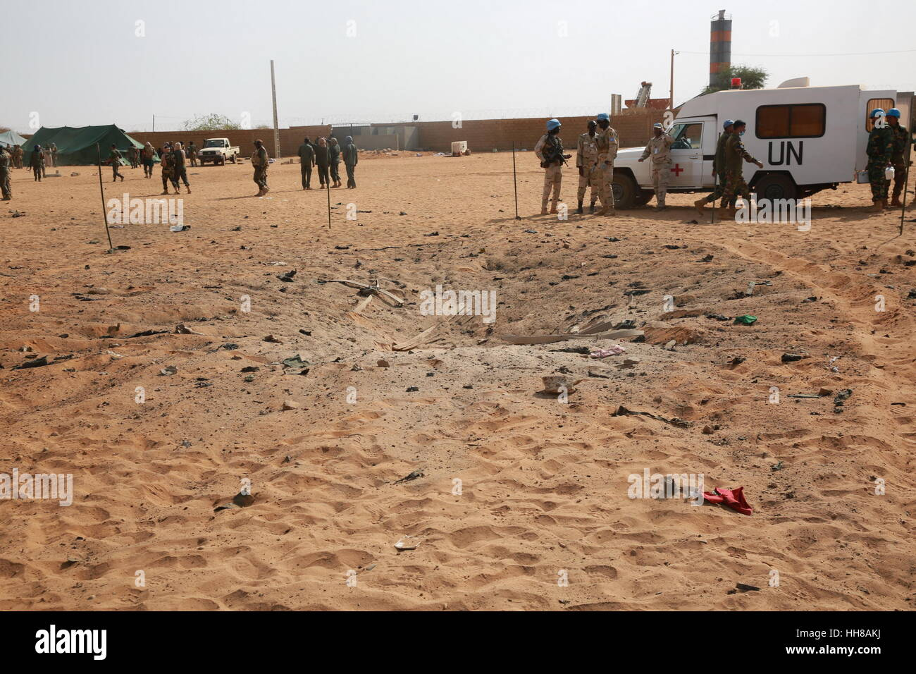 Gao, Mali. 18th January 2017. Photo taken on Jan. 18, 2017 shows the crater at a car bomb attack site in Gao, Mali. Stock Photo