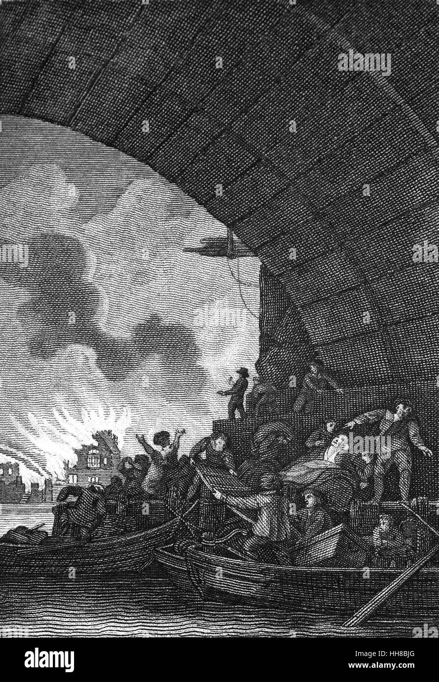 A view from the River Thames of the Great Fire of London, a major conflagration that swept through the central parts - Stock Image