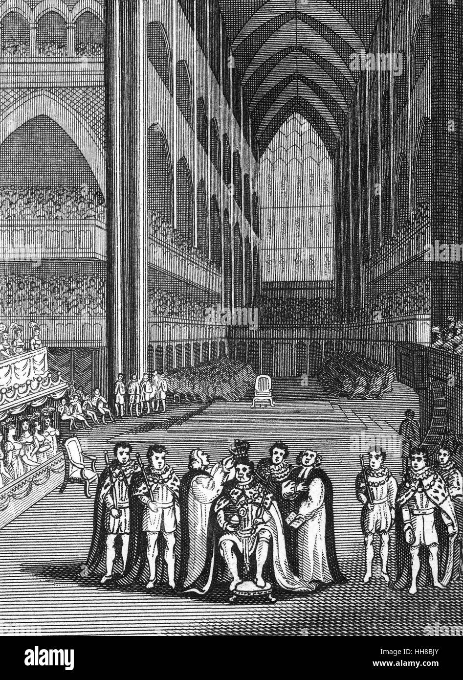 The coronation of King Henry VIII (1491 – 1547)  at Westminster Abbey on 21 April 1509. Henry was the second Tudor - Stock Image