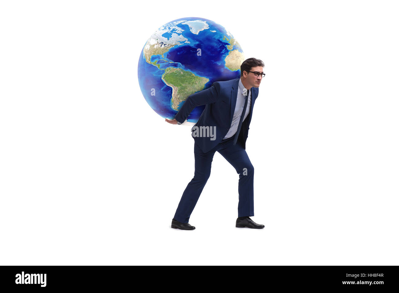 businessman carrying earth on his shoulders stock photo 131109239