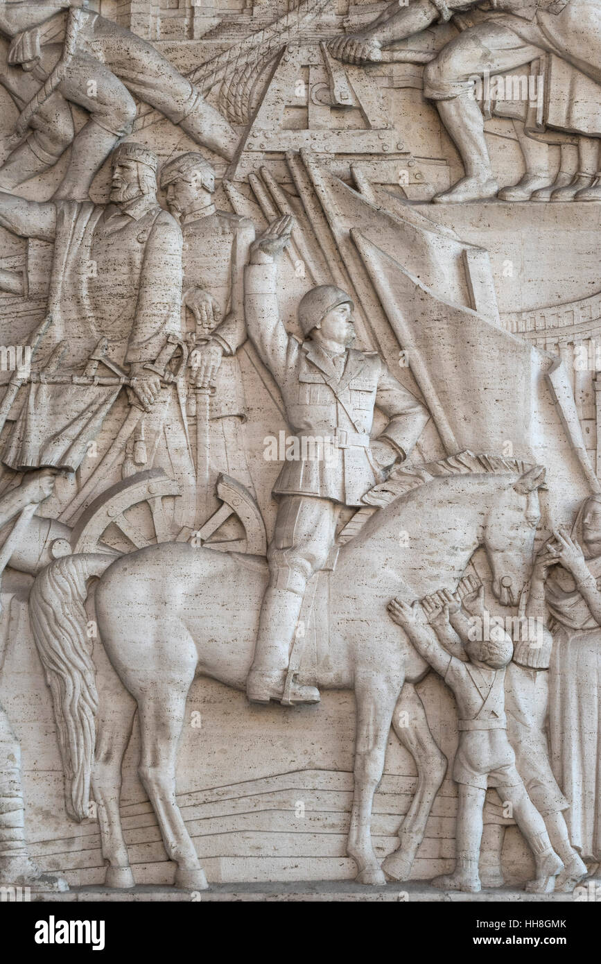 Rome. Italy. EUR. Portrait of Benito Mussolini on horseback on the bas-relief 'A History of Rome Through it's - Stock Image
