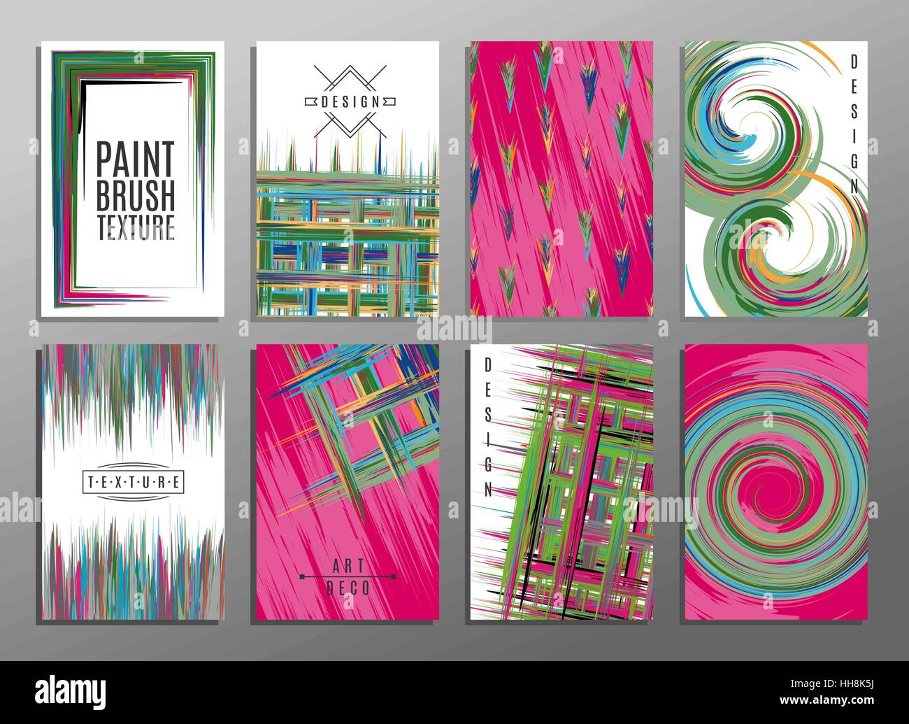 Hand drawn collection of artistic invitations made by acrylic homemade texture with trendy geometric icons and logotypes. - Stock Image