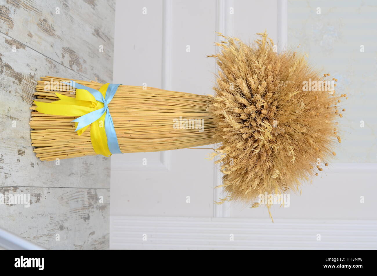 Didukh is a Ukrainian traditional symbol -  decorative reap made out of wheat ears, which encourages harvest. - Stock Image