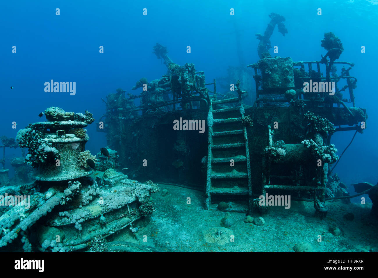 Deck of shipwreck, Russian wreck MS Khanka, former spy ship or communications ship, Zabargad Island, Red Sea, Egypt - Stock Image