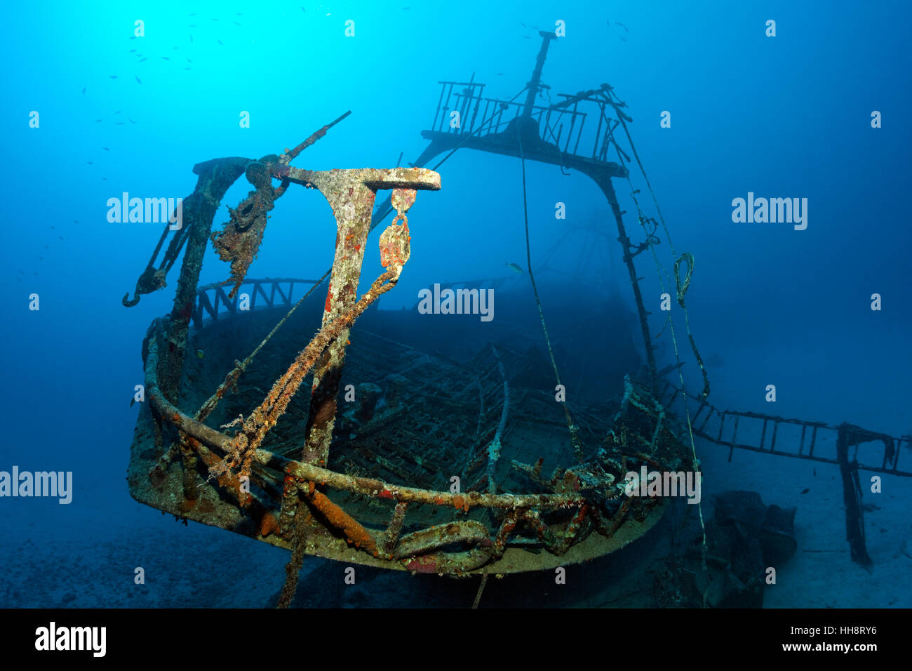 Bow of fishing vessel, shipwreck, Ras Banas, St. Johns, Sirnaka Island, Red Sea, Egypt - Stock Image