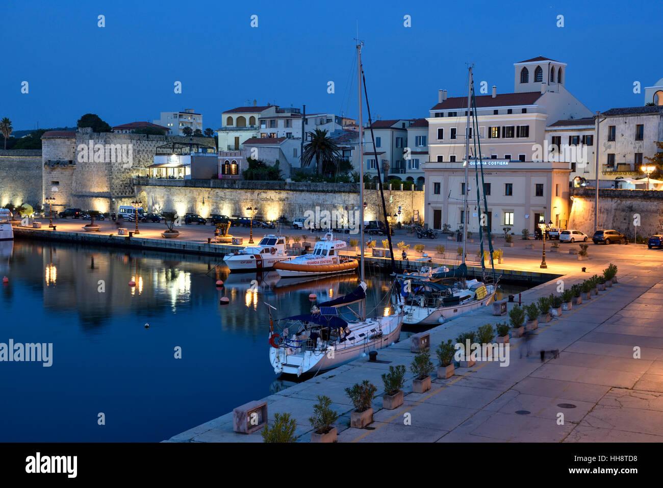 Harbour, blue hour, Alghero, Sassari, Province of Sardinia ...