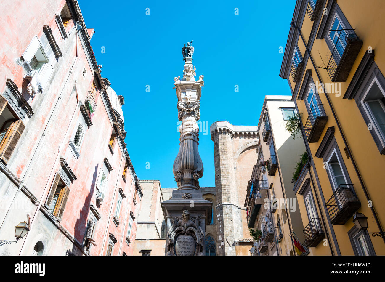 Italy,Naples,the St.Gennaro spire in Sforza square - Stock Image