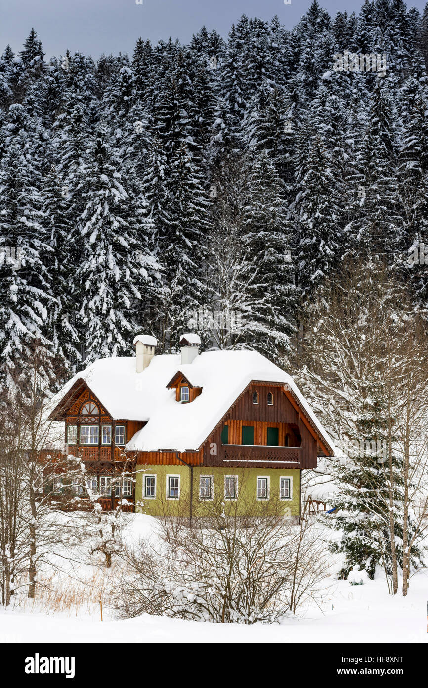 Wooden Mountain House in Winter Forest. Winter Idyll. - Stock Image