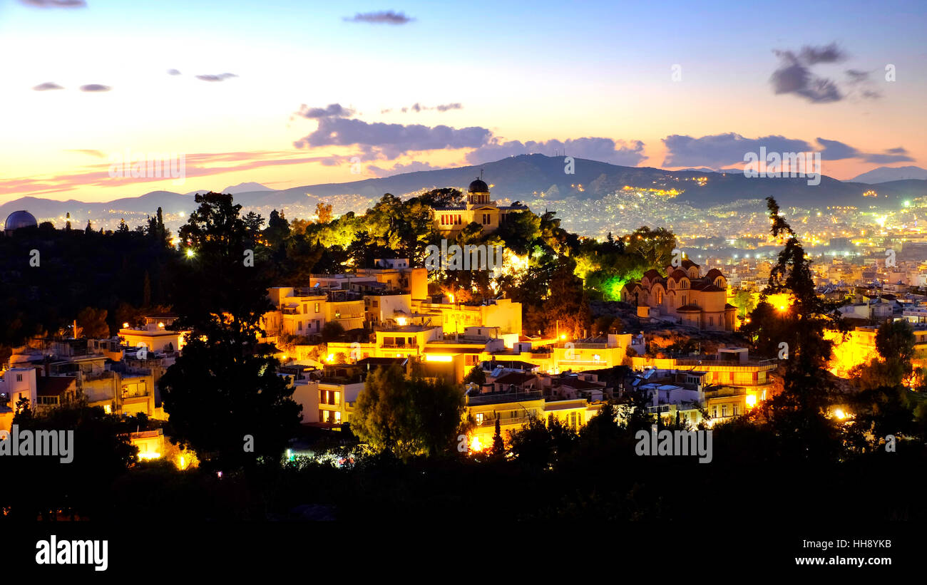 Hill of the Nymphs, Athens, Greece - Stock Image