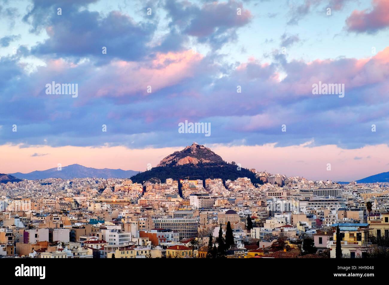 View of Mount Lycabettus, Athens, Greece Stock Photo