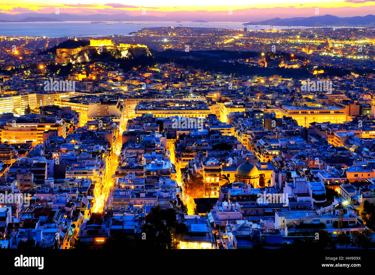 View of the city of Athens form Mount Lycabettus, Athens, Greece - Stock Image