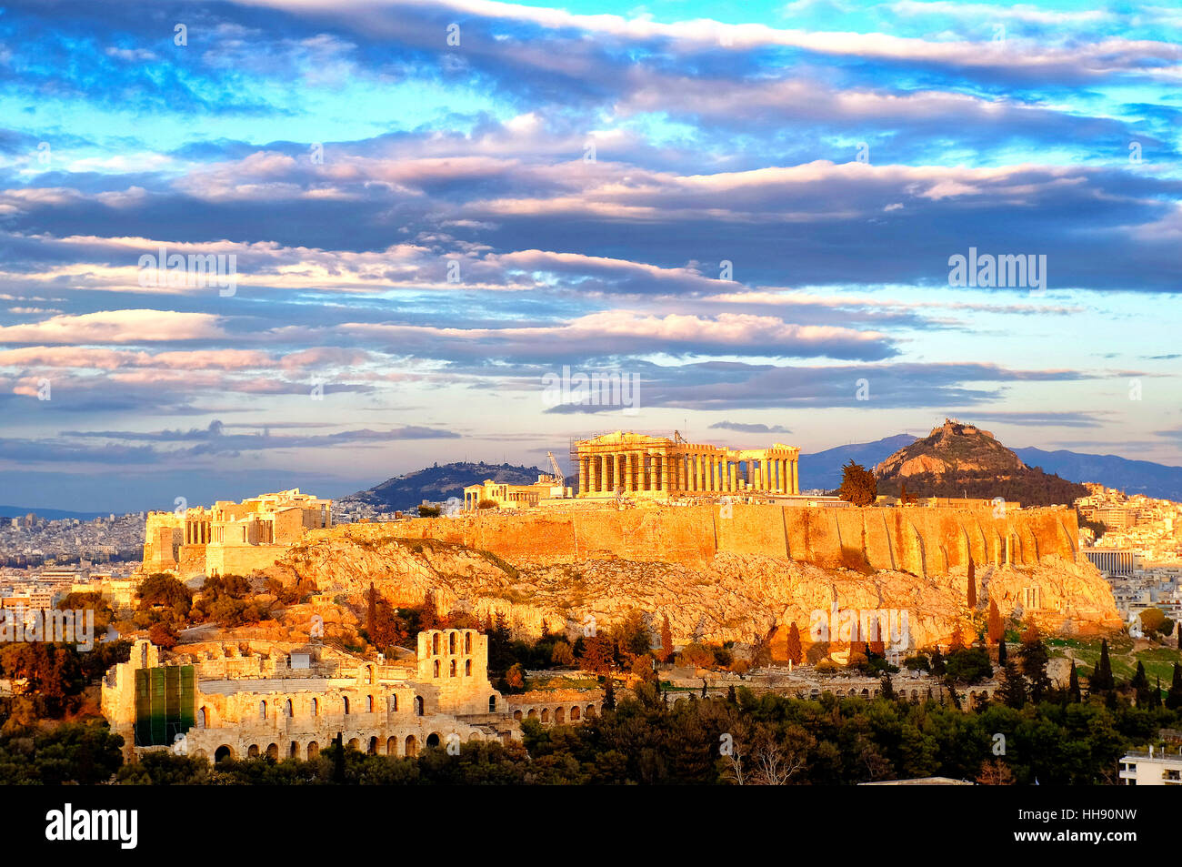 View of the Acropolis of Athens, Athens, Greece - Stock Image