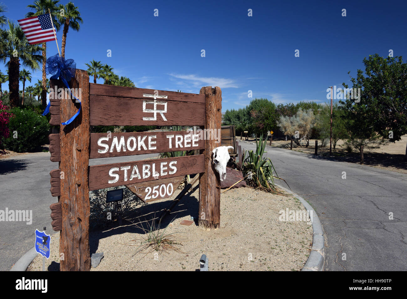 The Entrance to Smoke Tree Stables in Palm Springs, California, USA - Stock Image