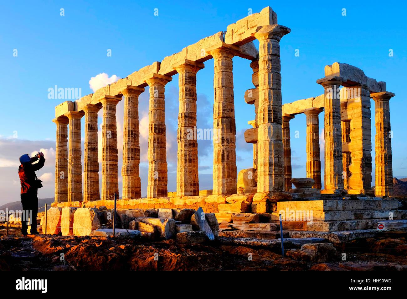 Ruins of temple of Poseidon at Cape Sounion, Attica Peninsula, Greece - Stock Image