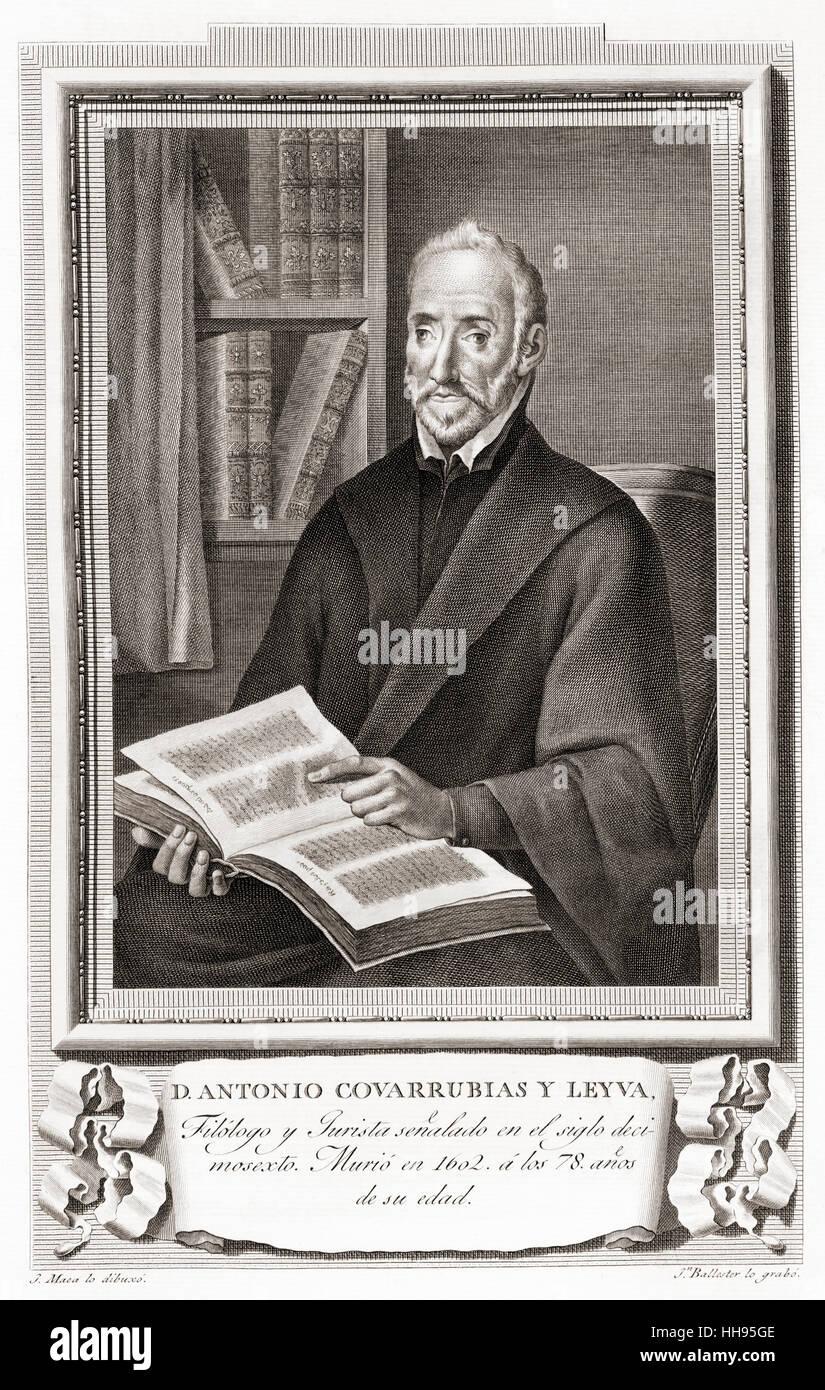 Antonio de Covarrubias y Leyva, 1514 - 1602.  Spanish philologist and jurist.  After an etching in Retratos de Los - Stock Image
