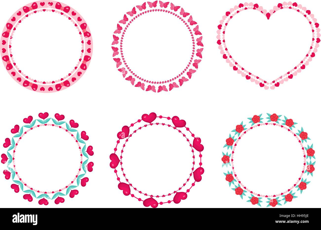 Cute Round Border With Space For Text. Isolated On White Background. Vector  Illustration.