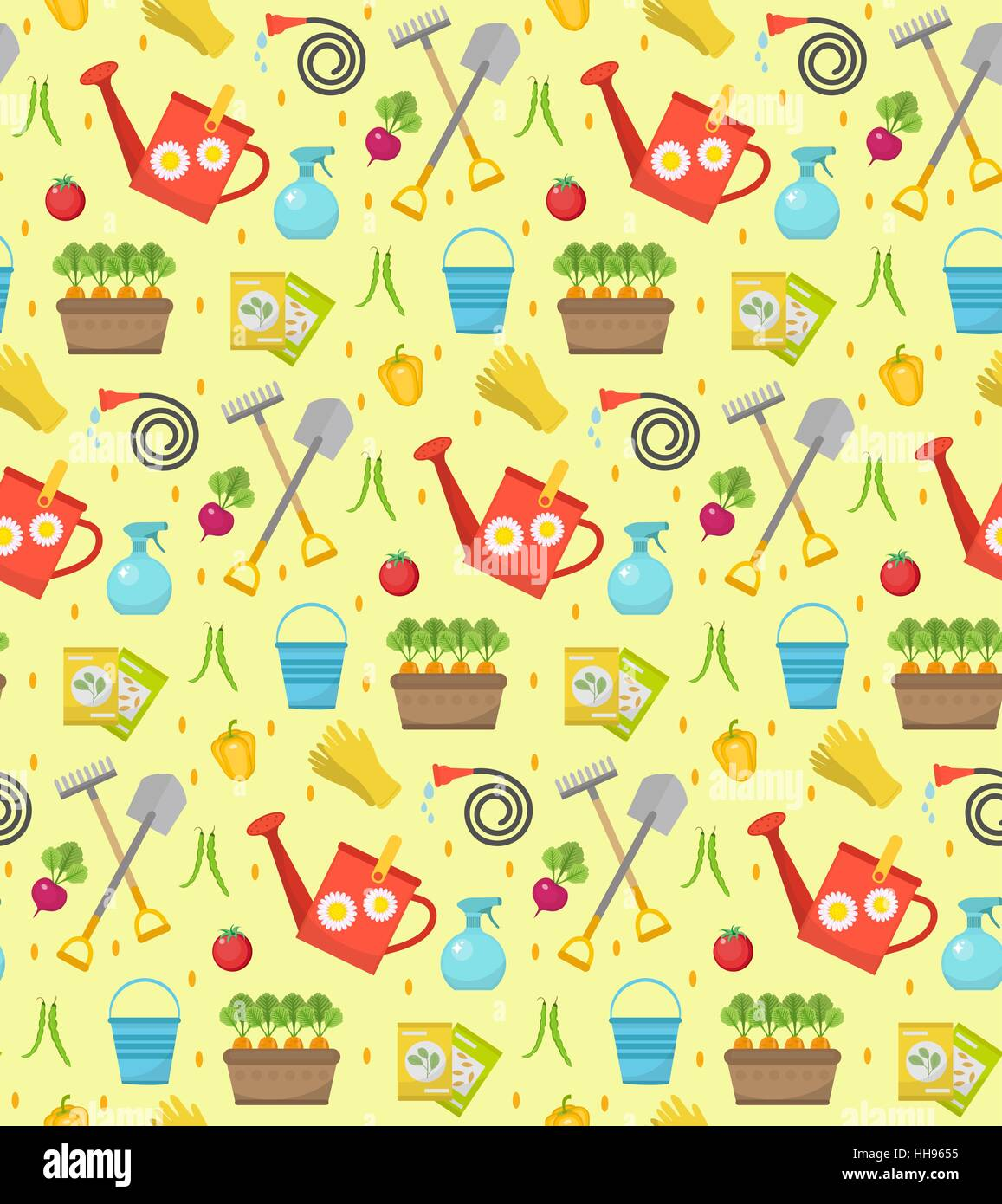 Gardening Seamless Pattern With Garden Tools. Spring Endless Backdrop.  Horticulture Texture, Wallpaper. Cute Summer Background. Vector Illustration