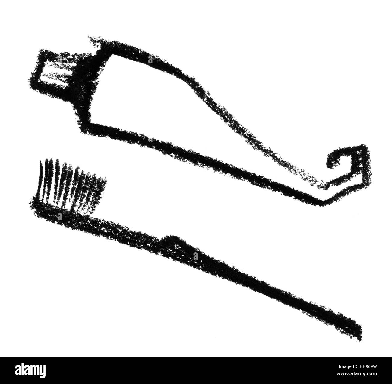 toothpaste, drawing, photo, picture, image, copy, deduction, toothbrush, care Stock Photo
