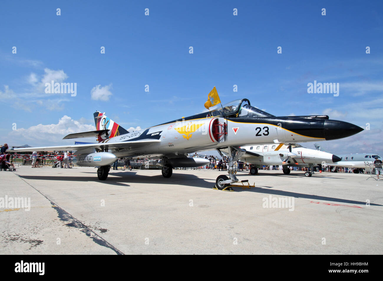 French Navy Dassault Super Etendard fighter jet on static display at the 100-years-Aeronavale airshow on Hyeres Stock Photo