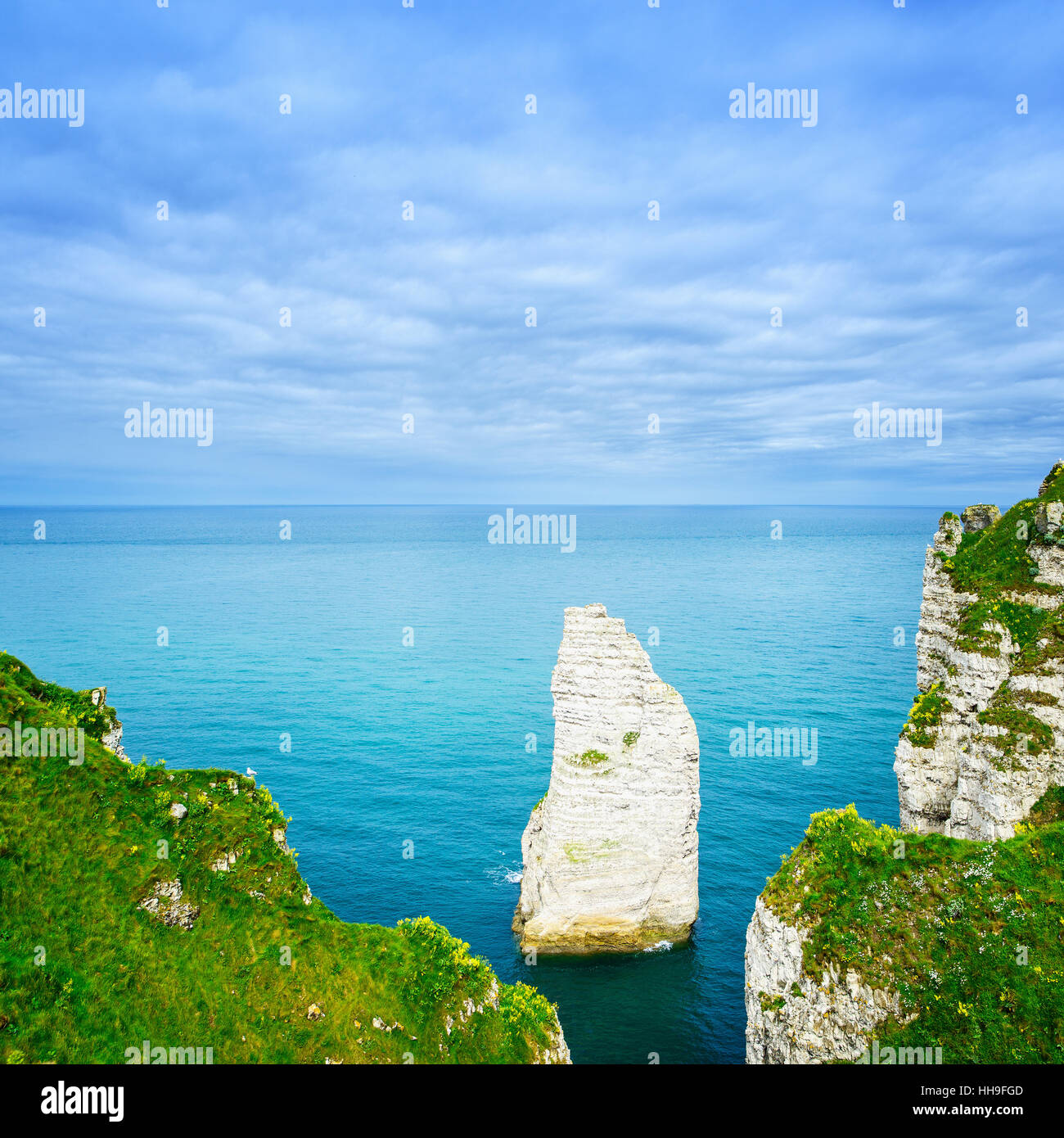 Etretat Aval cliff rock landmark and blue ocean. Aerial view. Normandy, France, Europe. - Stock Image