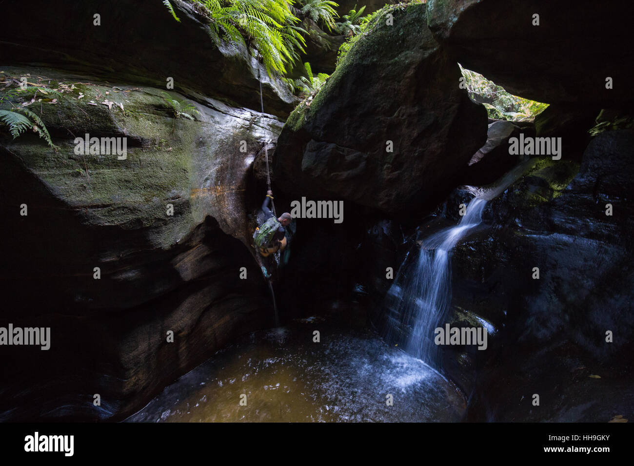 Adventure canyoning in claustral canyon in the Blue Mountains, Australia - Stock Image