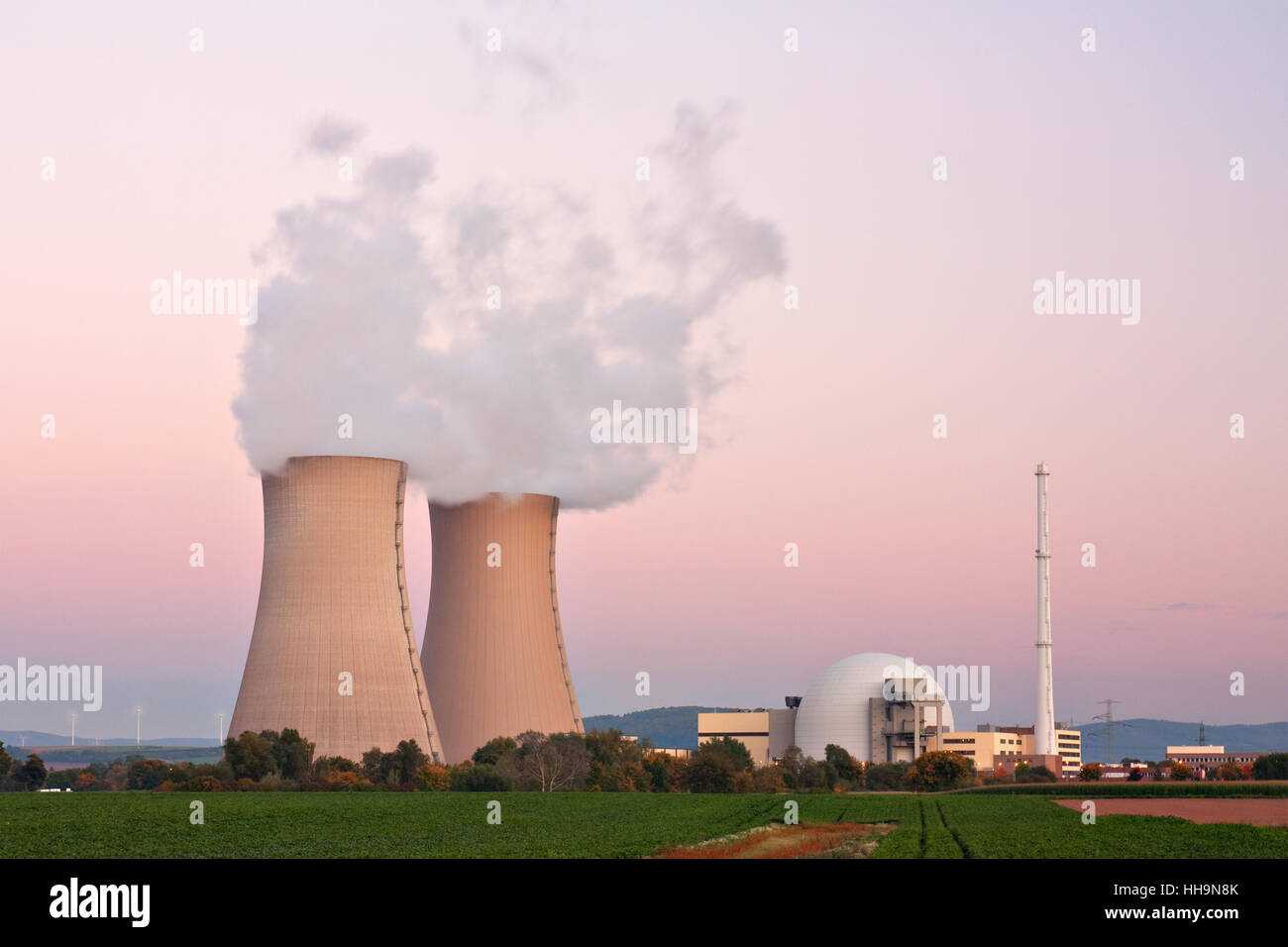 power station, energy, power, electricity, electric power, nuclear power - Stock Image