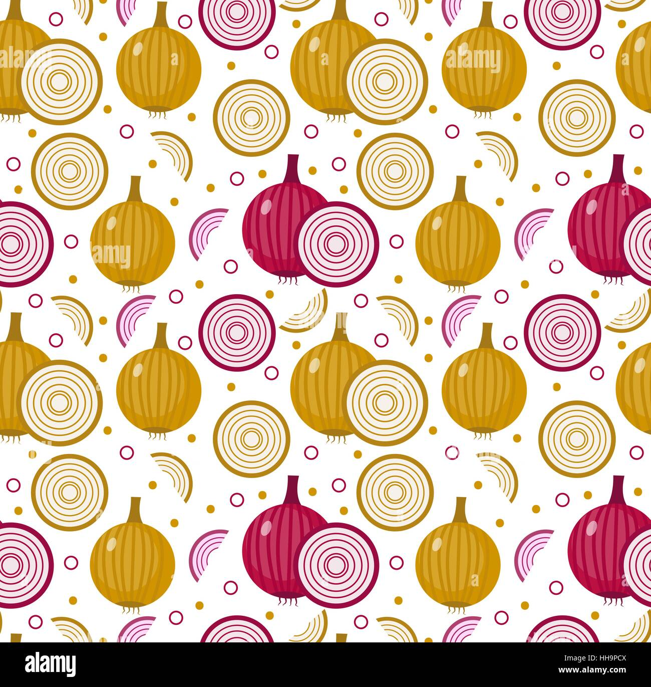 Onions seamless pattern. Bulb onion endless background, texture. Vegetable . Vector illustration - Stock Vector