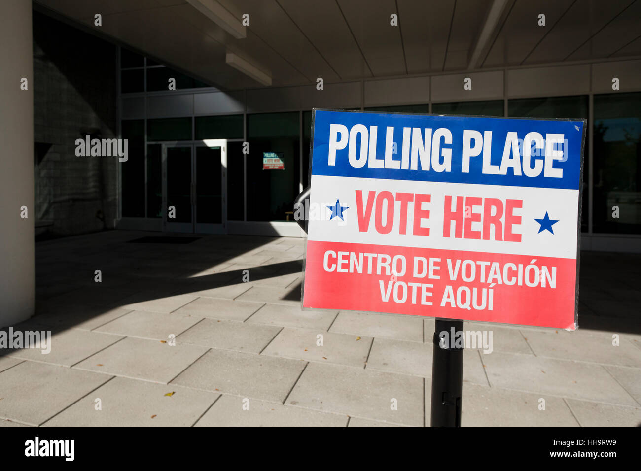 Voting place, Vote Here sign - Arlington, Virginia USA - Stock Image