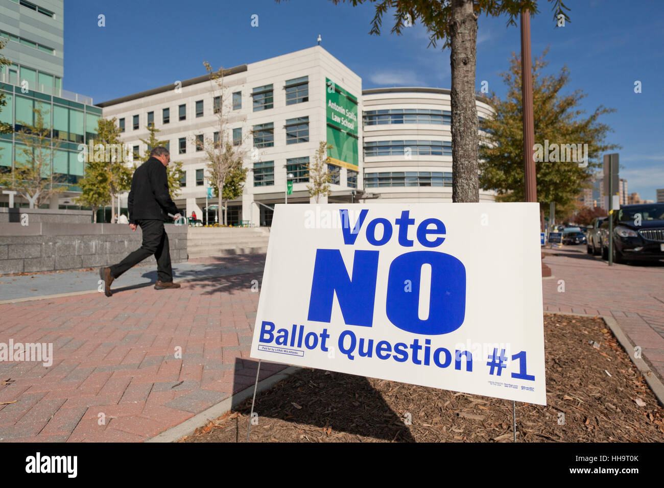 Local municipality voting ad outside of polling place - Arlington, Virginia USA - Stock Image