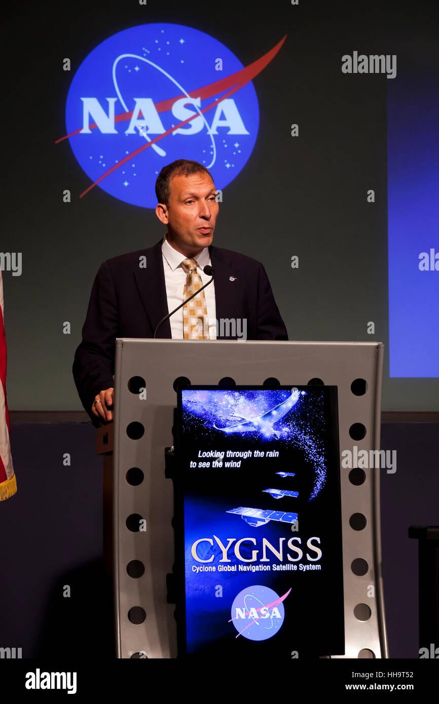 Thomas Zurbuchen, Head of NASA Science Mission Directorate speaking at NASA headquarters - Washington, DC USA - Stock Image