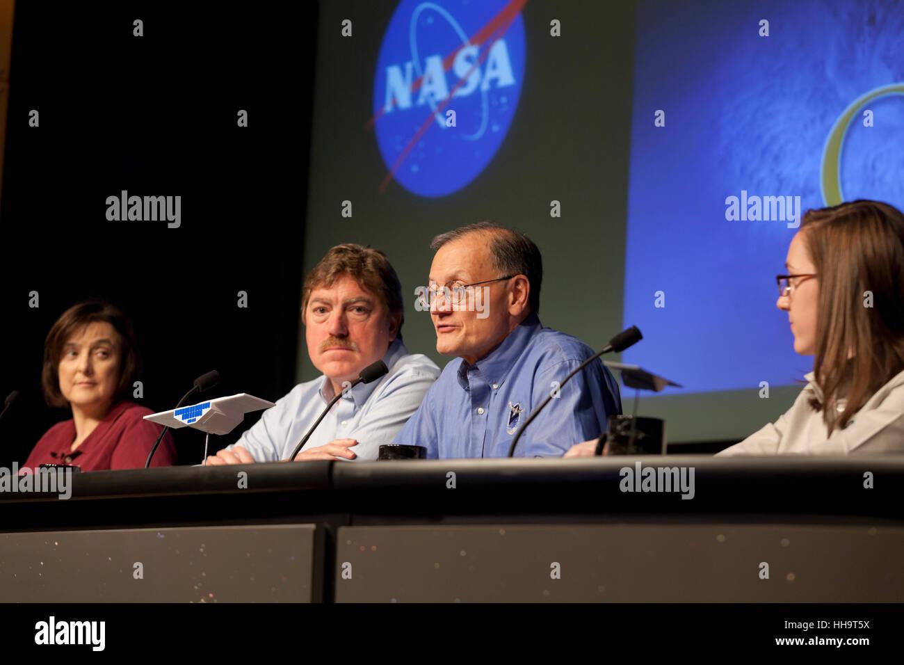 NASA earth scientists briefs the media on CYGNSS Hurricane Mission - Washington, DC USA - Stock Image