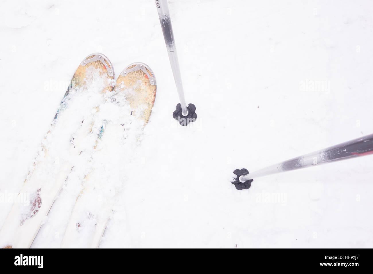 skis and poles pov - Stock Image