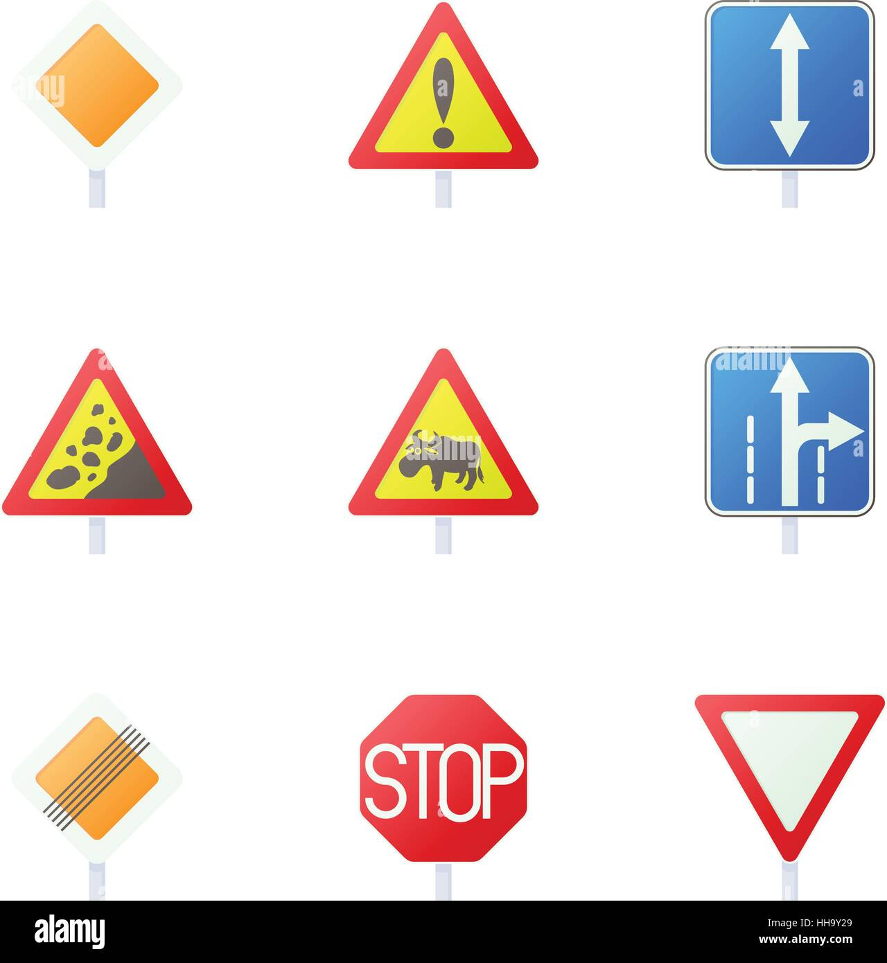 Road sign icons set, cartoon style Stock Vector