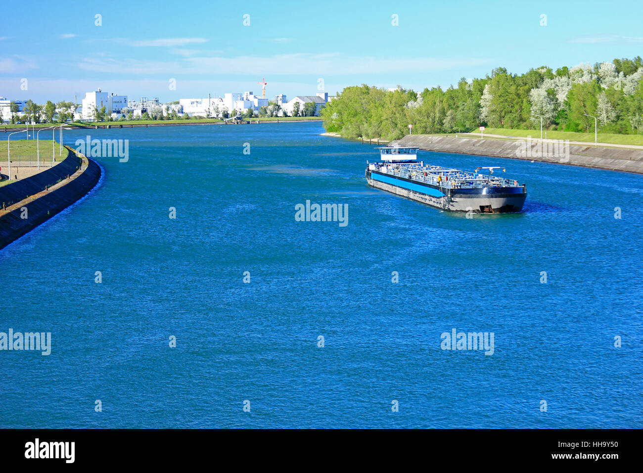 cargo ship on the rhine - Stock Image