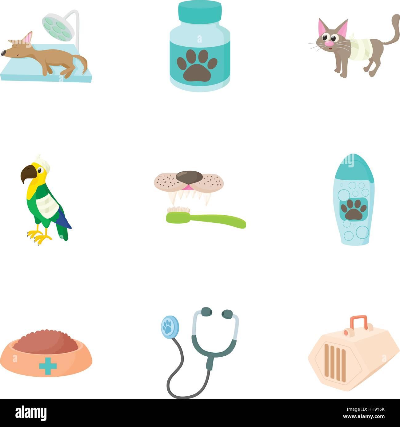 Veterinary things icons set, cartoon style - Stock Vector