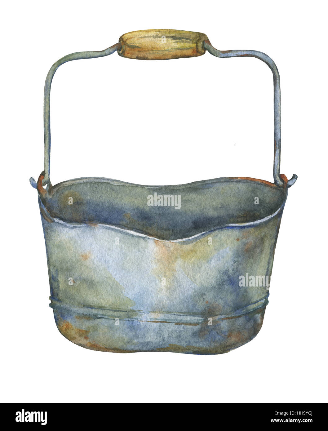 Gardening tools rusty galvanized bucket. Hand drawn watercolor painting on white background. - Stock Image
