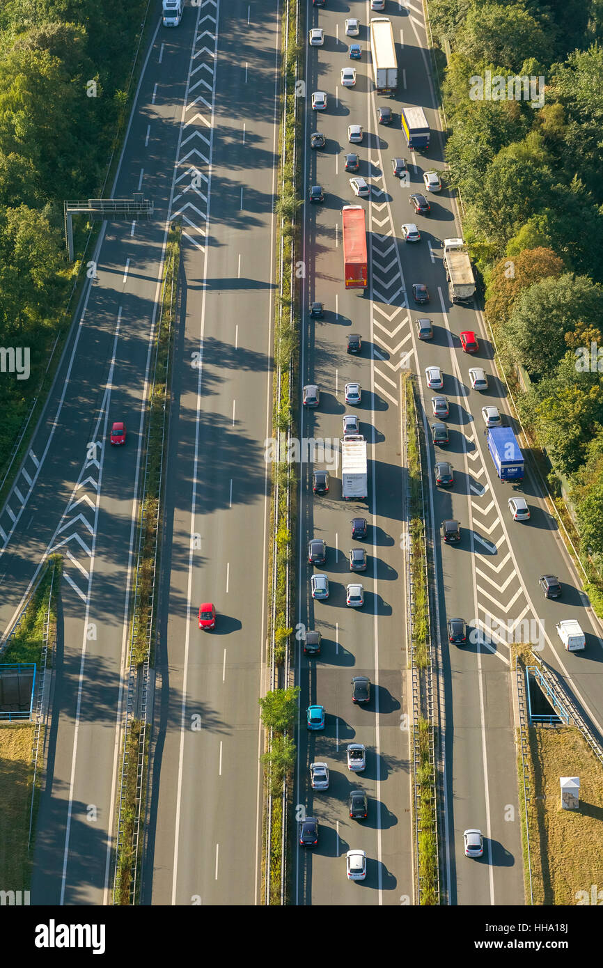 Highway intersection, A43 and A2, A43 congestion between Recklinghausen and Bochum, Recklinghausen, Ruhr area, - Stock Image