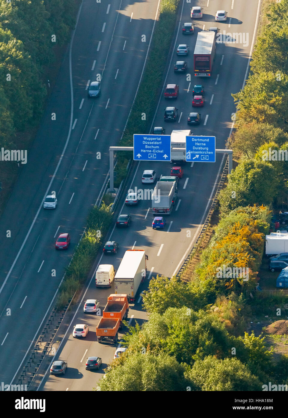 Highway intersection, A43 and A2, A43 congestion between Recklinghausen and Bochum, Recklinghausen, Ruhr area, Stock Photo