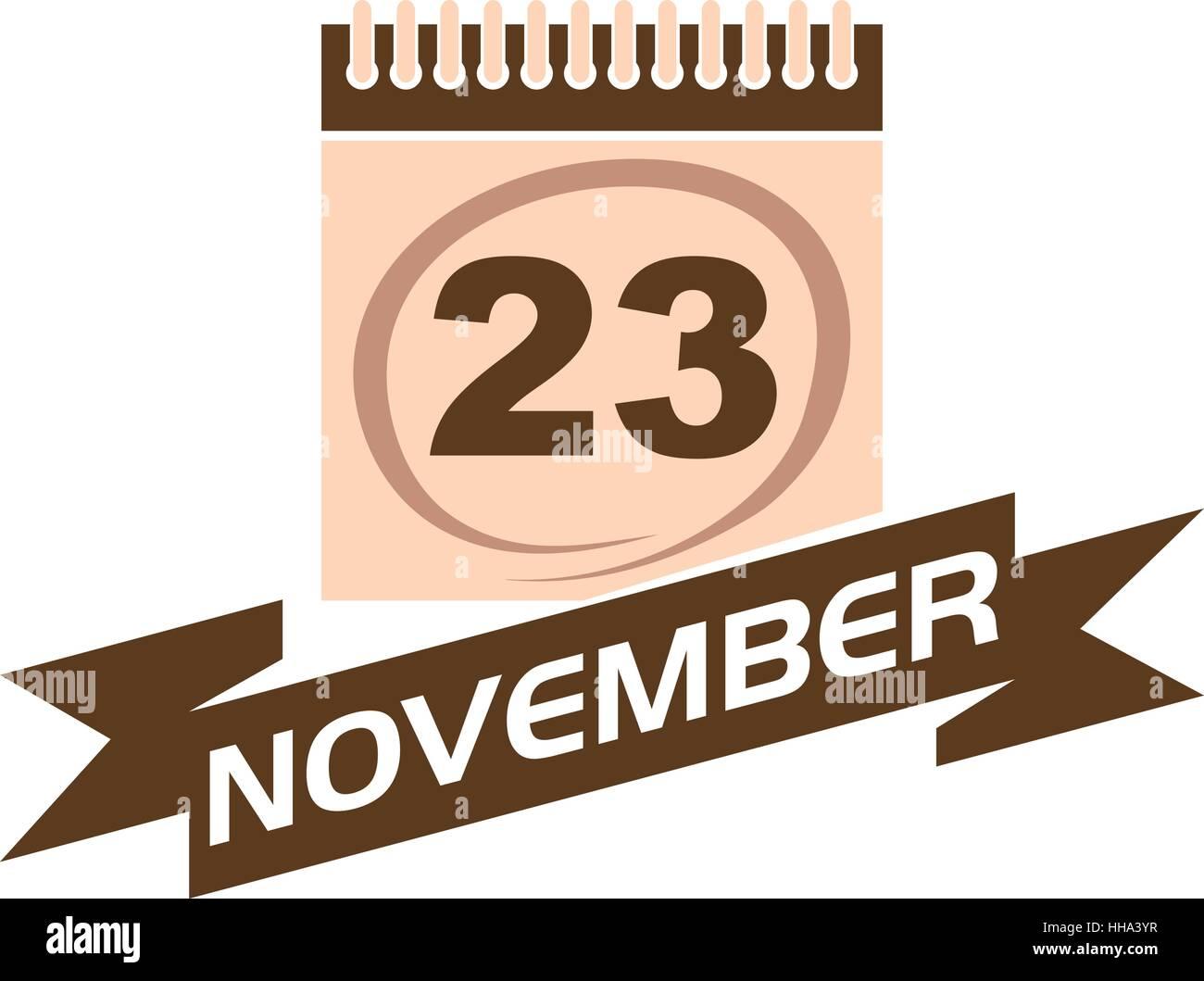 23 November Calendar with Ribbon - Stock Vector