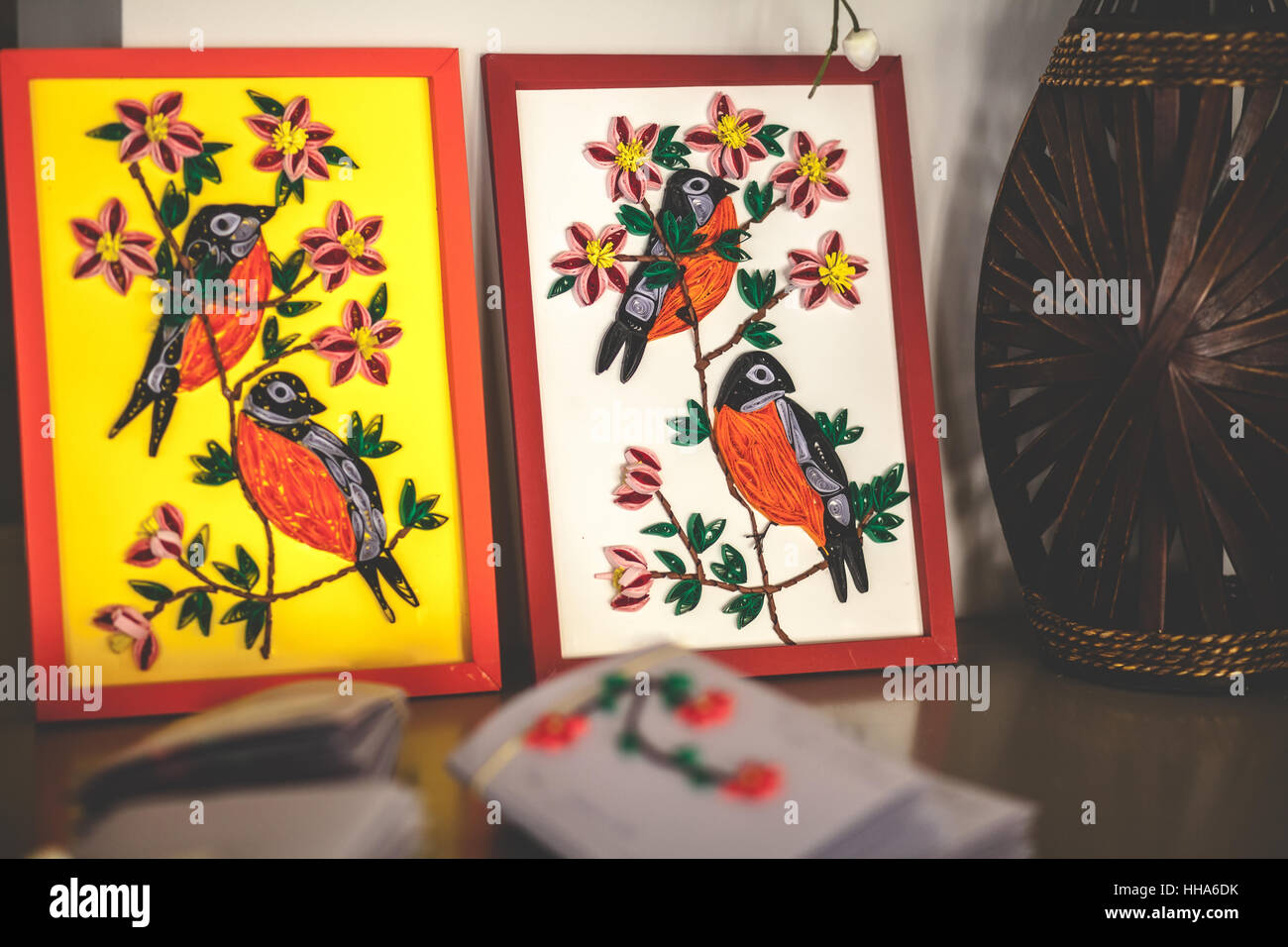 Quilling wedding decoration, invitations and small frames with birds ...