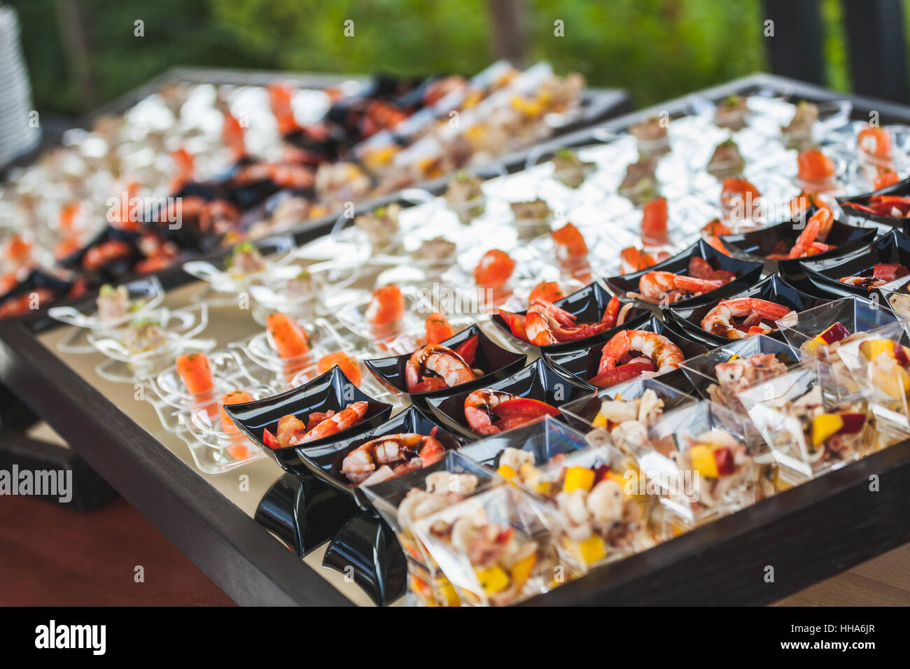 Catering service preparing aperitif for a wedding - Stock Image
