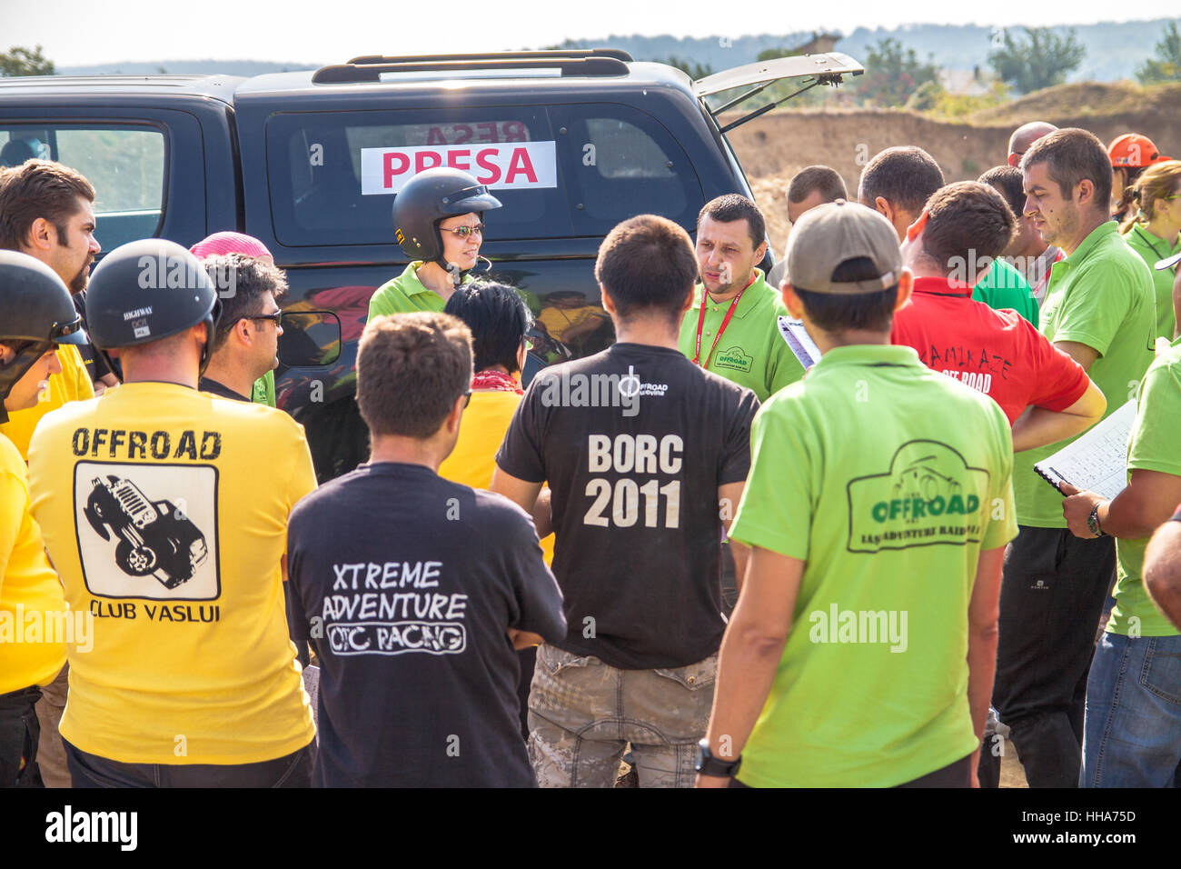 Offroad competition in Bucium forest near Iasi Romania, Last indications before starting the off-road race - Stock Image