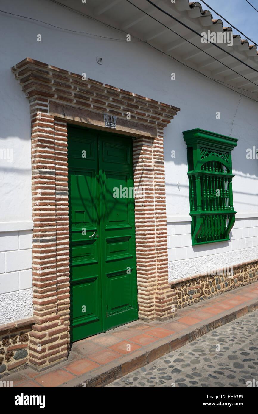 Green Door And Window In The Colonial Town Of Santa Fe De