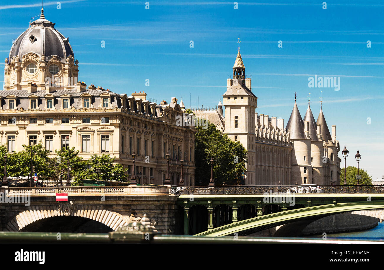 The building of Commercial Court of Paris was built in 1860-1865 by French architect Antoine- Nicolas Bailly. - Stock Image