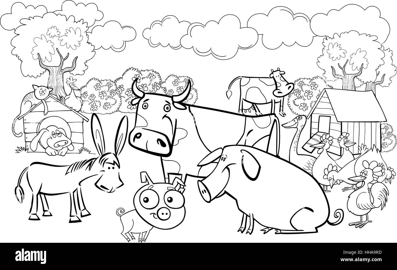 cartoon illustration of farm animals group for coloring book Stock ...