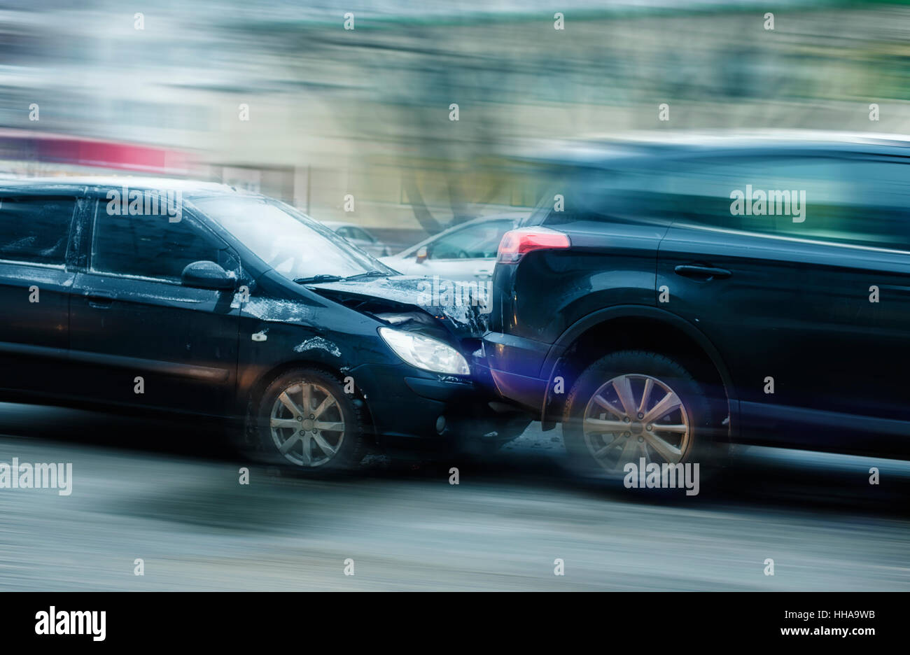 Car accident with strong blurring - Stock Image