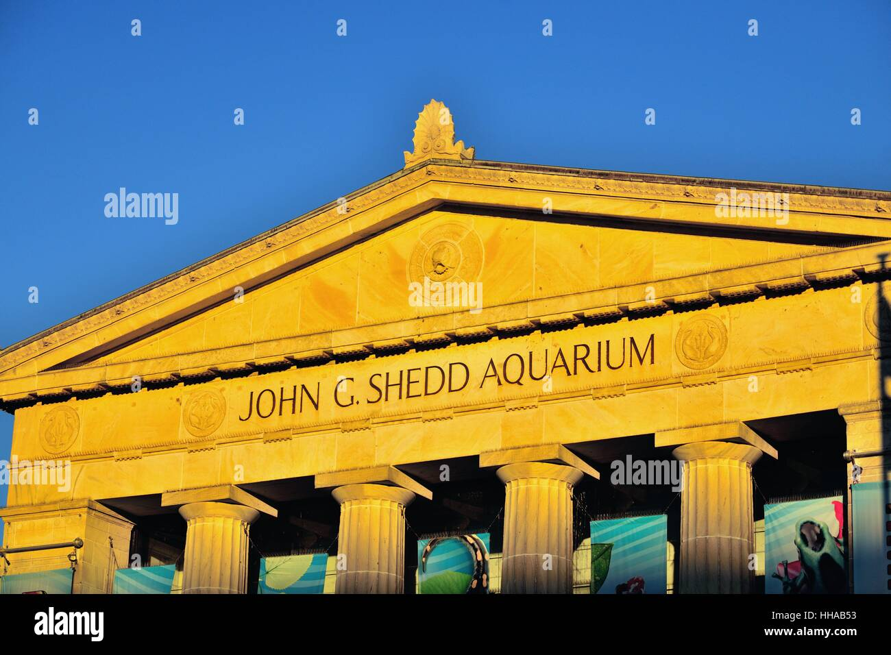 Chicago's Shedd Aquarium reflecting the final rays of the setting sun on a late autumn day. Chicago, Illinois, - Stock Image