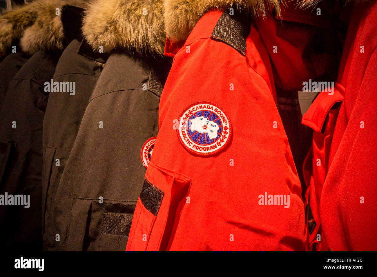 Canada Goose brand parkas in their flagship store in New York on Saturday, January 14, 2017. Canada Goose is reported to be planning an initial public ...